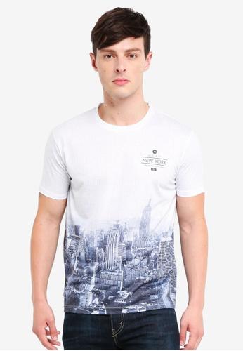 Burton Menswear London 白色 White New York Geometric Print T-Shirt A5A28AAFAB2A1CGS_1
