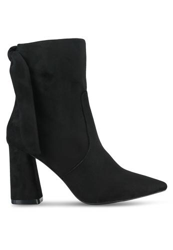 Velvet black Suede Back Tie Ankle Boots 2ADBCSH58C1791GS_1