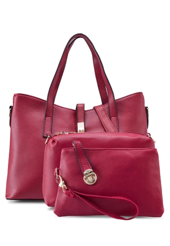Bagstationz red Bagstationz Faux Leather Tote Bag Set of 3 BA607AC96KITMY_1