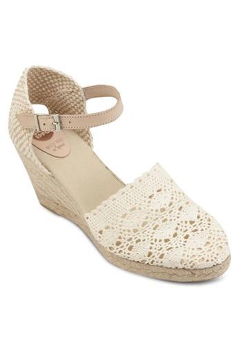 Agavi 蕾絲圓頭麻編楔形涼鞋, 女鞋, esprit tsim sha tsui鞋