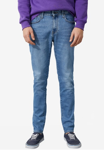 KOTON blue Classic Tapered Washed Jeans 99D53AAF315378GS_1
