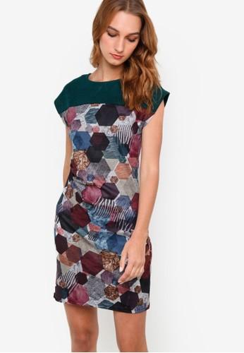 Hongrizalora 手錶a 撞色拼肩印花連身裙, 服飾, 洋裝