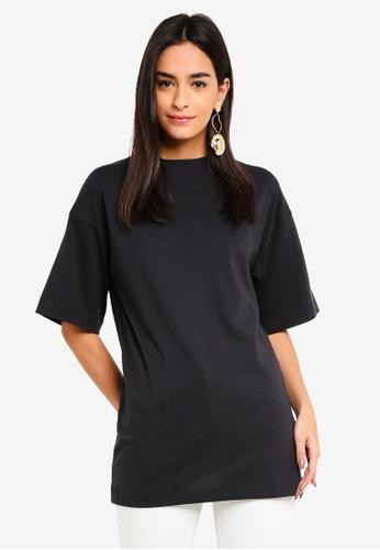 TOPSHOP black Petite Boyfriend Tunic T-Shirt 5323FAA62895ABGS_1
