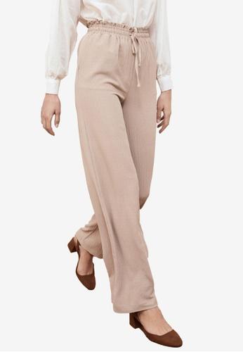 Trendyol beige Drawstring Wide Leg Pants 940D0AA4C7EBA2GS_1