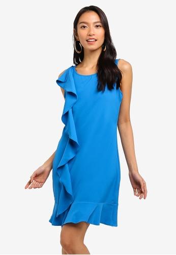 ZALORA 藍色 Ruffles Drop Hem Dress 6EA46AA52643CAGS_1