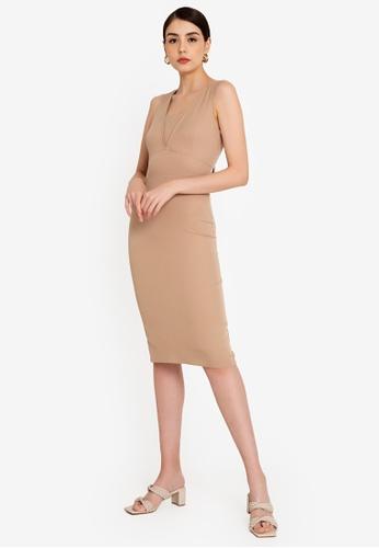 ZALORA WORK 褐色 Panel Detail Sheath Dress 388A3AAE79FAECGS_1