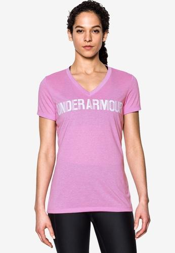 Under Armour pink Threadborne V-Graphic Twist Top UN337AA0SB3PMY_1