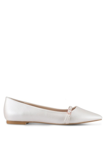 Velvet 白色 Buckle Ballet Flat Shoes 2EE89SH44CFA6DGS_1