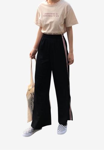 Lara black Women's Webbing Stripes Culottes C8CBFAACE693B4GS_1
