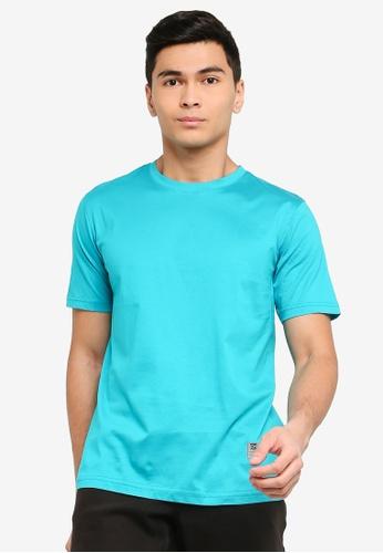 UniqTee 綠色 修身圓領T恤 19D7AAA5417FE1GS_1
