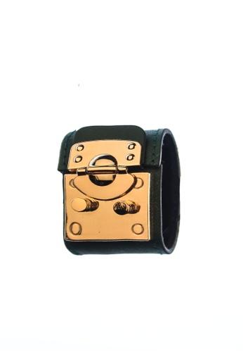 CSHEON black and silver and gold TREASURE CHEST IN GREEN SAFFIANO CALFSKIN BRACELET CUFF 6E5FEAC64B7714GS_1