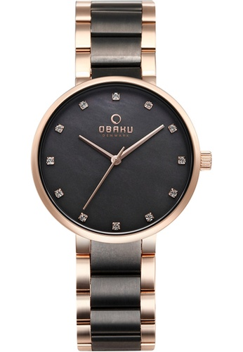 OBAKU black and gold Women's Analogue Quartz Watch in Mother of Pearl Dial and 2-tone Link Bracelet 3EB06AC8DB037AGS_1