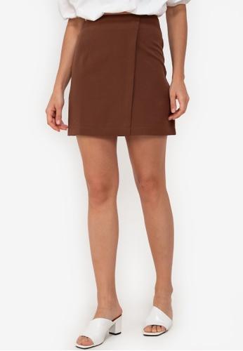 ZALORA WORK brown Overlap Mini Skirt 1C472AA4558C51GS_1