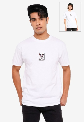 OBEY white Double Vision Tee FE370AAC3C06CDGS_1