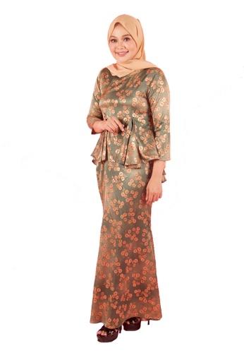 FATIMÉ orange and green and gold Satin Premium Peplum Maria (Dark Green) 440D6AA76868C4GS_1