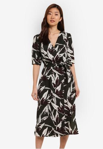 ZALORA green Printed Wrap Dress A4DAFAAE0B4CC8GS_1