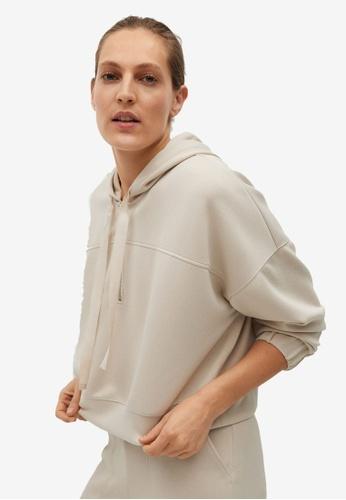 Mango brown Crop Sweatshirt Hoodie 40D19AA6916102GS_1