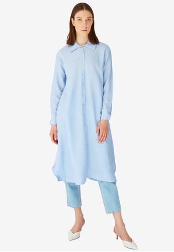 Trendyol blue Collar Tunic Shirt 1110DAAA72B781GS_1