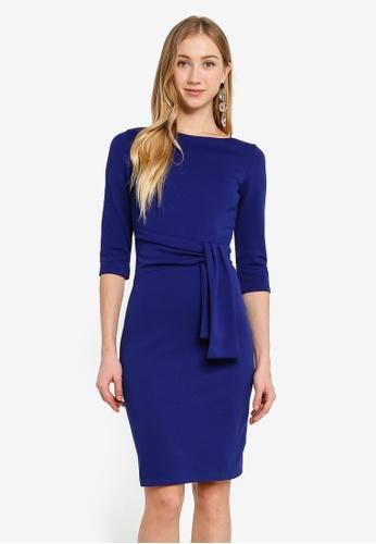 Goddiva blue Pencil Dress With A Tie Detail A76C4AA12B7BEEGS_1