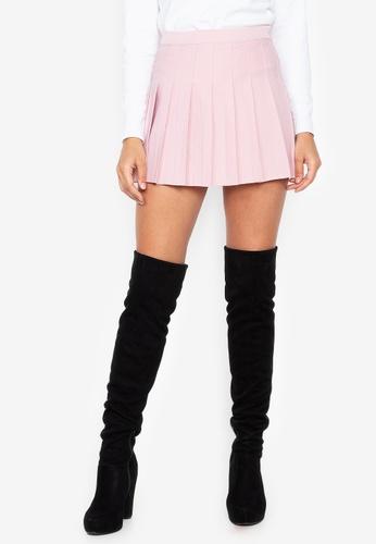 Chase Fashion pink Plain Pleated Skirt EC2FFAA800E37CGS_1