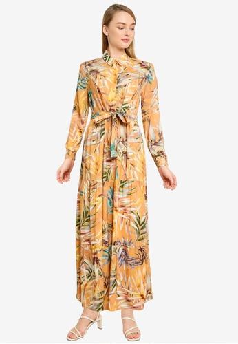 LC Waikiki 橘色 Waistband Viscose Shirt Dress A252CAA2070665GS_1