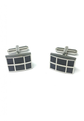 Splice Cufflinks black Black Checked Rectangular Cufflinks SP744AC25FSSSG_1