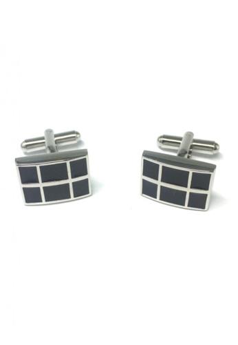Splice Cufflinks black Black Checked Rectangular Cufflinks SP744AC25FSSSG_1