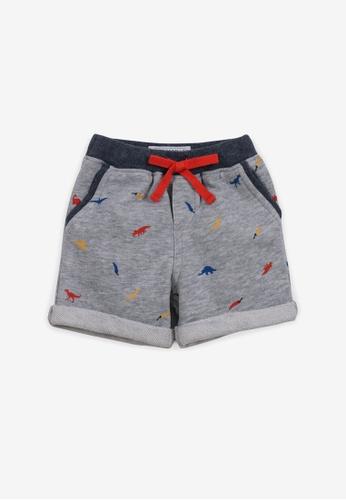 Gingersnaps grey Baby Boys Printed Gray Knit Shorts 7A285KA43621FEGS_1