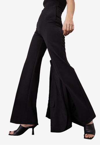 H&M black Wide Crease-Leg Trousers 14D97AA5B13FCBGS_1