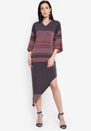 14b7f90879 Uneven Hem Oversized Sleeve Long Dress