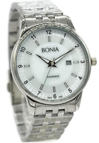Bonia Rosso BNB10097-1315 Jam Tangan Pria Stainless Steel Silver Plat Putih