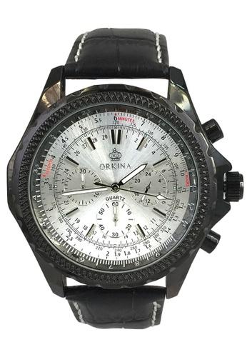 Chronomart black and silver Orkina Men's Silver Dial Chronograph Japan Quartz Leather Strap Watch CH783AC99FMEPH_1