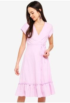 03e03064cf0 Something Borrowed purple Ruffles Hem Midi Wrap Dress D1B99AAF01B37CGS 1