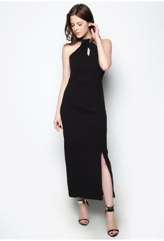 Halter Dress with Sequined Collar