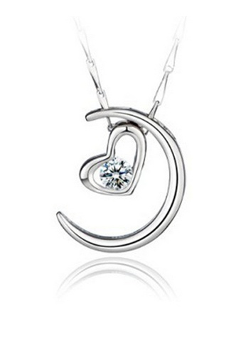 YOUNIQ silver YOUNIQ Moon Lover 925 Sterling Necklace Pendant with Cubic Zirconia (Silver) YO999AC71DBGMY_1