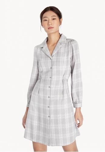 Pomelo grey Plaid Tie Waist Dress - Light Grey 15166AAB08561DGS_1
