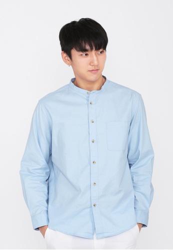 A for Arcade blue Lennon Band Collar Shirt in Sky 30792AA804812BGS_1