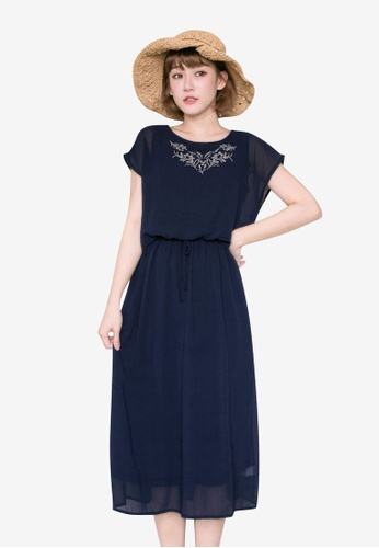 Tokichoi navy Floral Embroidery Dress 1B977AA42C624DGS_1