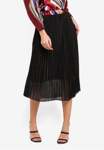 bYSI black Pleated Mesh Skirt F4826AAE170505GS_1