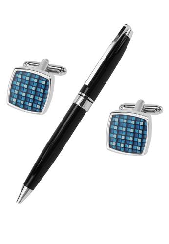 CUFF IT blue Blue Checker Enamel Cufflinks and Pen Set 534DCAC7900CDFGS_1
