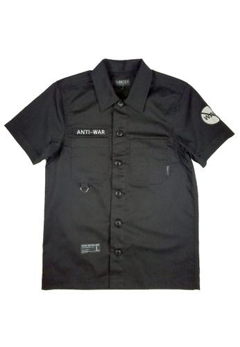 L.I.M.I.T.E black Emb Patch with Print Twill Shirt LI425AA0FCJXSG_1