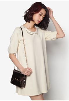 Dress With Pearl Collar