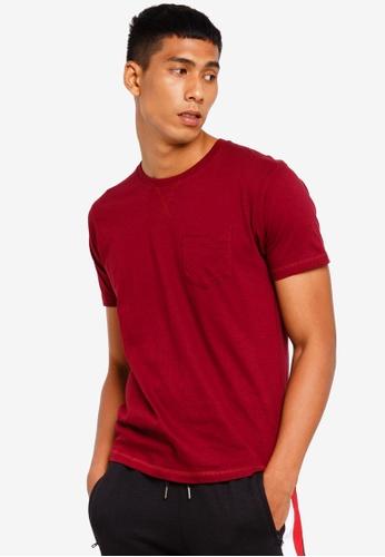 Brave Soul 紅色 胸前口袋圓領T恤 8ABFFAA554263CGS_1