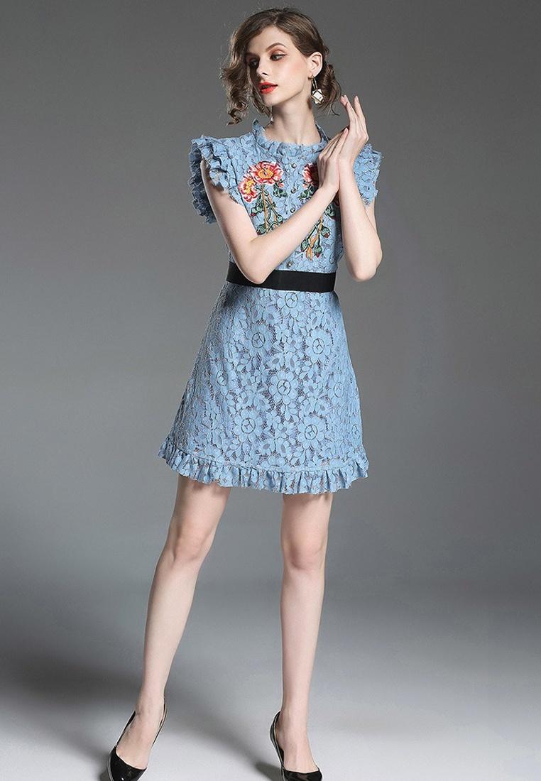 A050319BL New Blue Sleeveless Sunnydaysweety Dress Piece One 2018 Lace Tunic xH1wq00Av