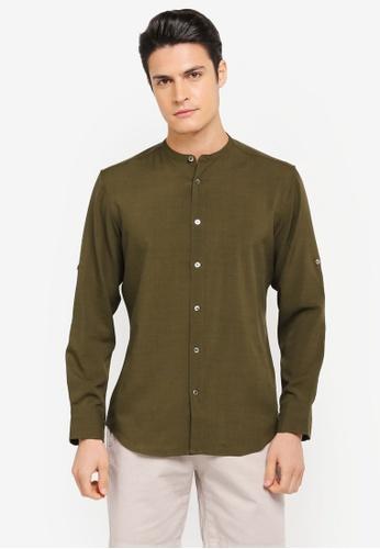 ZALORA green Mandarin Collar Long Sleeve Shirt F6409AADD7308DGS_1