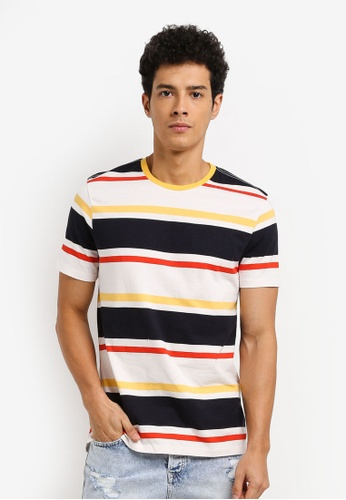 Topman yellow and multi Striped T-Shirt C5697AA852E9F7GS_1
