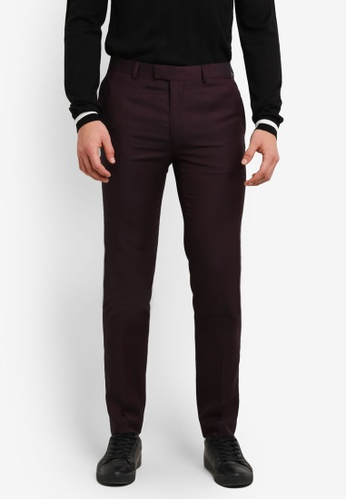 Topman red Plum Skinny Fit Suit Trousers TO413AA0S4R3MY_1