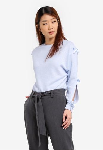 Dorothy Perkins blue Bow Sleeve Top DO816AA0SRCTMY_1