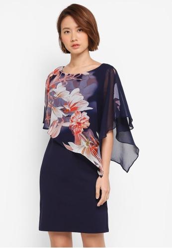 Wallis navy Petite Floral Print Overlay Dress A63DAAA48A54E0GS_1