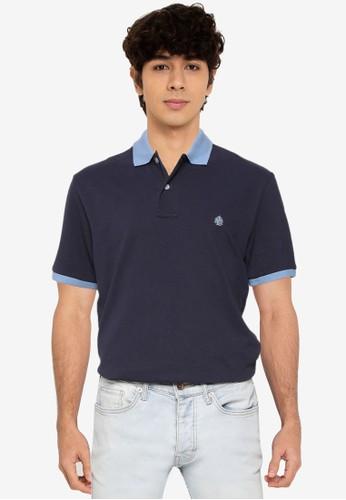 Springfield navy Contrast Pique Polo Shirt CB5B6AAA700411GS_1